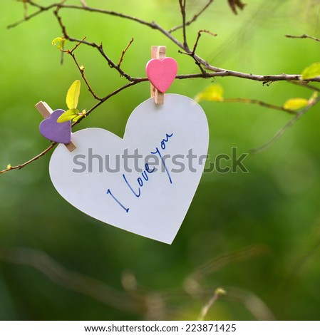Heart Shaped I Love You Card - stock photo