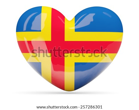 Heart shaped icon with flag of aland islands isolated on white - stock photo