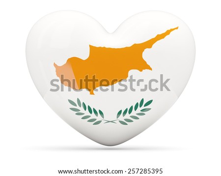 Heart shaped icon with flag of cyprusisolated on white - stock photo