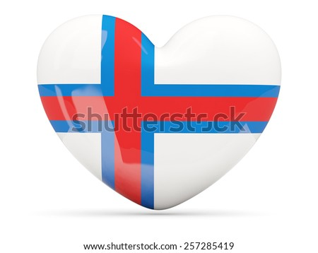 Heart shaped icon with flag of faroe islands isolated on white - stock photo