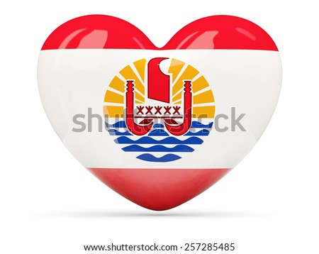 Heart shaped icon with flag of french polynesia isolated on white - stock photo