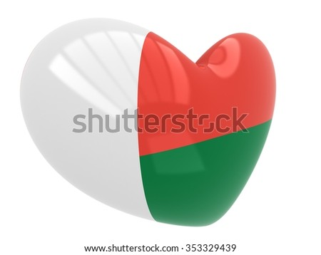 Heart shaped icon with flag of Madagascar  - stock photo