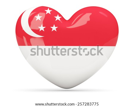 Heart shaped icon with flag of singapore isolated on white - stock photo