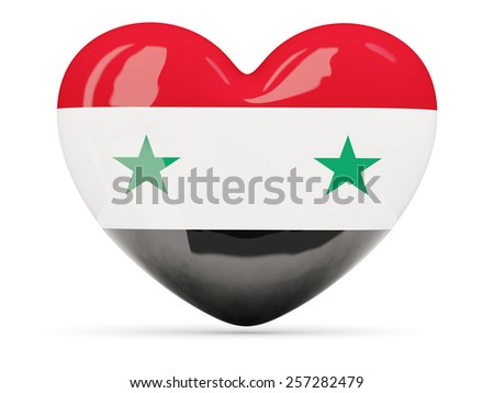 Heart shaped icon with flag of syria isolated on white - stock photo