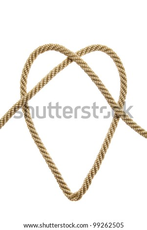 Heart shaped Knot on a golden rope isolated
