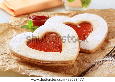 Heart shaped Linzer cookies - stock photo