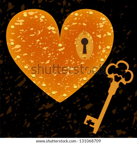 Heart-shaped lock and key grunge background. Raster illustration, vector file also available. - stock photo