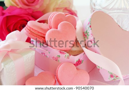 Heart shaped macaroons for valentine's day
