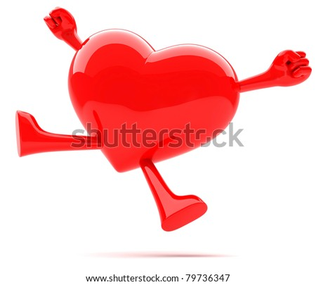 Heart shaped mascot jumping for joy - stock photo