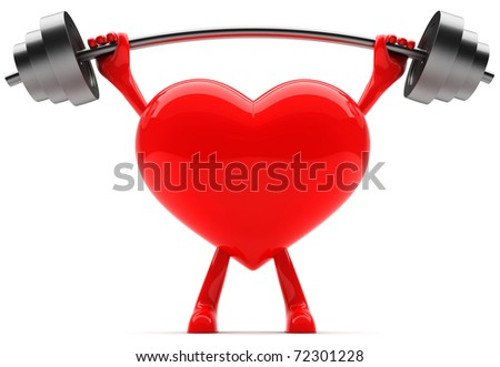 Heart shaped mascot lifting weight - stock photo