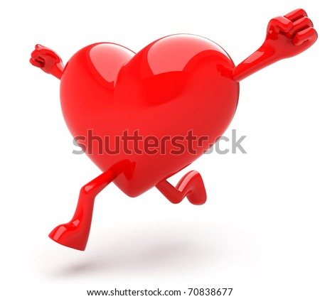 Heart shaped mascot running - stock photo