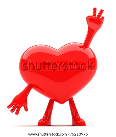 Heart shaped mascot showing victory sign with its hands - stock photo