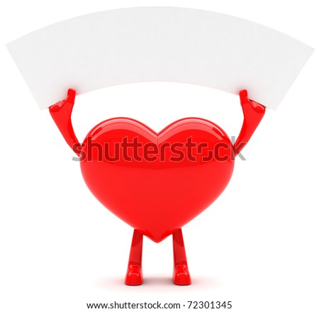 Heart shaped mascot with message - stock photo