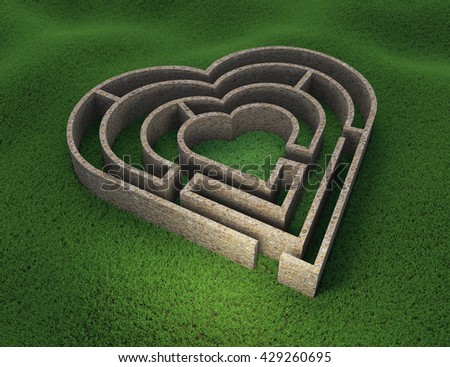 Heart shaped maze - love and relationship concept 3D illustration - stock photo