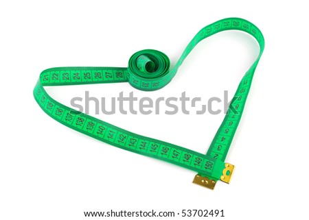 Heart shaped measuring tape isolated on white background