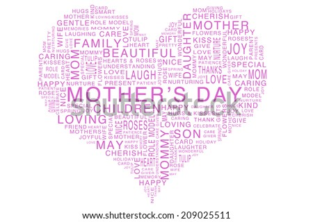 Heart Shaped Mothers Day Word Cloud Filled With Words Relating To The Holiday And Love Including