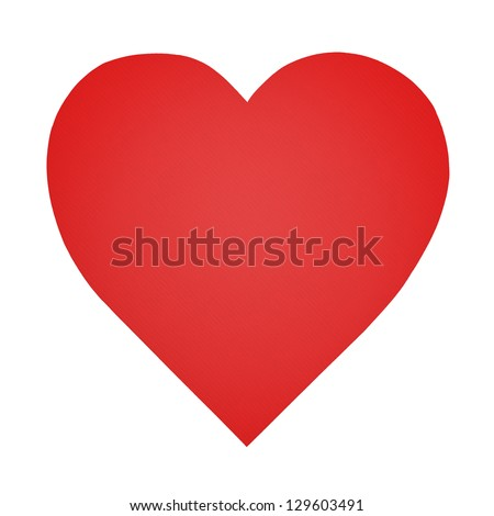Heart shaped paper isolated on white - stock photo