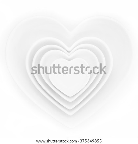 Heart shaped porcelain dishes of varying sizes over white background.
