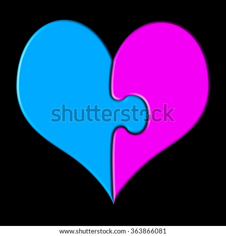 Heart shaped puzzle in blue and pink gender colors, isolated on black background - stock photo
