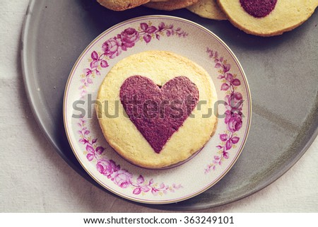 Heart shaped raspberry and vanilla biscuits