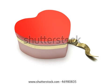 heart shaped red box valentine - stock photo