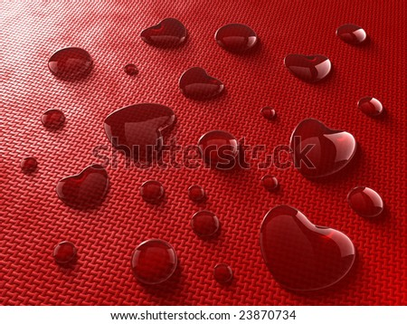 Heart-shaped red wine drops - stock photo