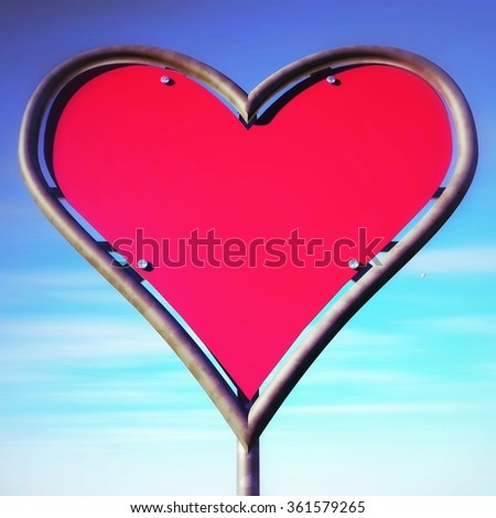 Heart-shaped road sign with a blue sky background, referring to concepts such as love, passion, peace, flirt, as well as valentines day