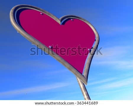 Heart-shaped road sign with a blue sky background, referring to concepts such as love, passion, peace, flirt, dating, as well as valentines day