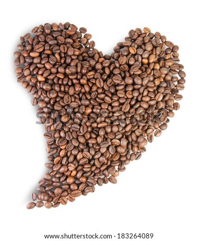 Heart Shaped Roasted Coffee Beans Isolated On White Background