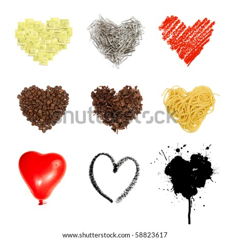 Heart shaped set symbols. Nine in one, isolated on white background. - stock photo