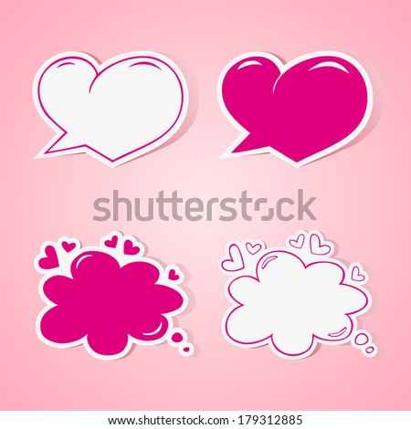 Heart shaped speech bubbles set - elements for wedding or baby shower invitation, scrapbooking etc