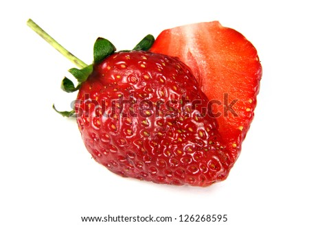 heart shaped strawberry put on white background