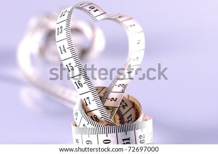 heart shaped tapeline - stock photo