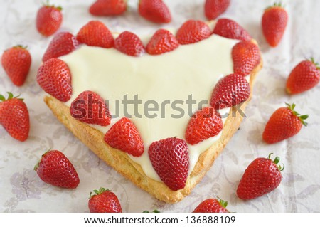 Heart Shaped Vanilla Strawberry Cake - stock photo
