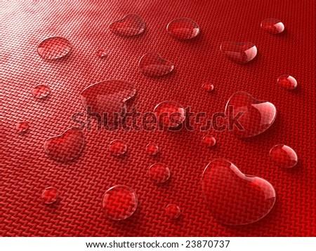 Heart-shaped water drops - stock photo