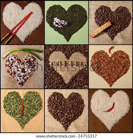 Heart shapes made from miscellaneous foods - stock photo