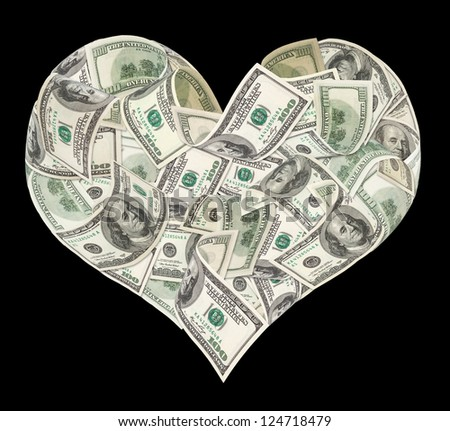 Heart sign made by 100 dollar banknotes isolated on black - stock photo