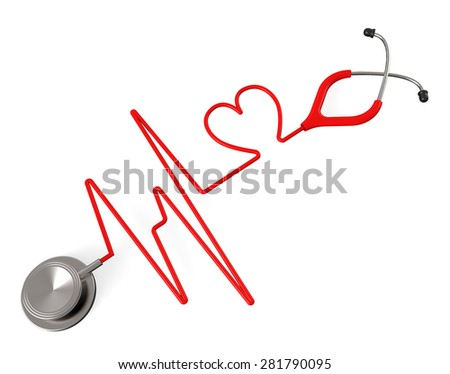 Heart Stethoscope Showing Valentine Day And Examination - stock photo