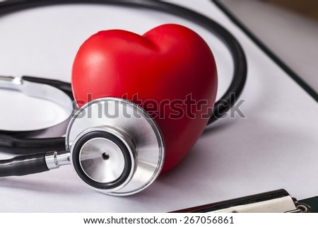 Heart. Stethoscope with heart close-up - stock photo