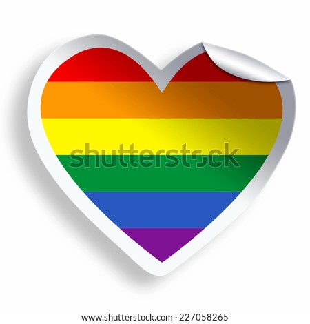 Heart sticker with colorful LGBT flag isolated on white - stock photo