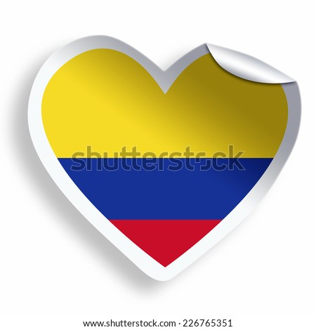 Heart sticker with flag of Colombia isolated on whitee - stock photo