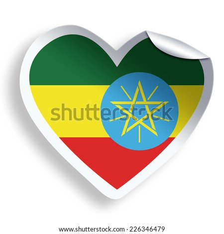Heart sticker with flag of Ethiopia isolated on white - stock photo