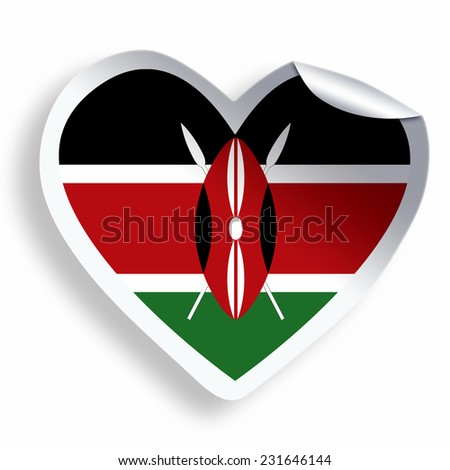 Heart sticker with flag of kenya isolated on white
