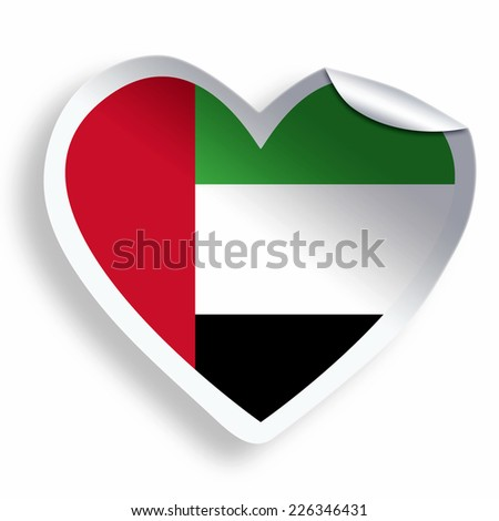 Heart sticker with flag of united arab emirates isolated