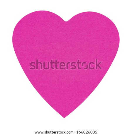 Heart Sticky Label, isolated on white background - stock photo