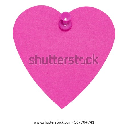 Heart Sticky Label, with pink pin, isolated on white background - stock photo