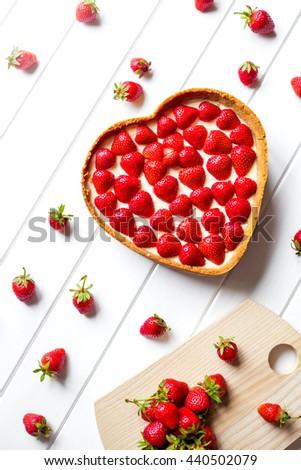 heart. Strawberry dessert. Love - stock photo