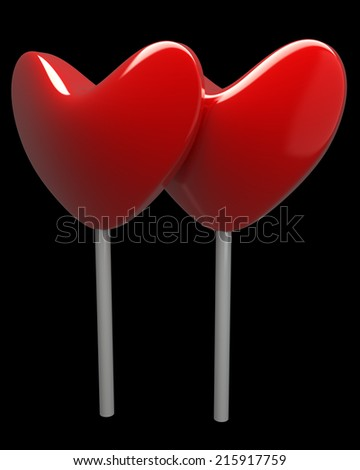 heart sweet lollipops. realistic. isolated on black background. 3d illustration - stock photo