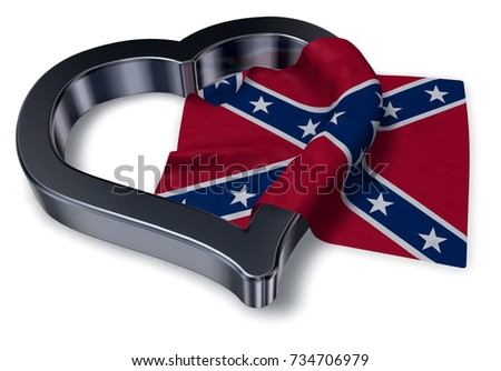 heart symbol and flag of the Confederate States of America - 3d rendering