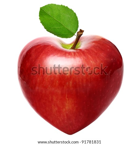 Heart symbol apple isolated over white background - stock photo
